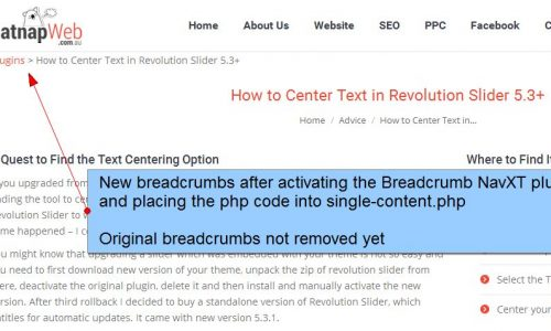 Customised Breadcrumbs with Subcategory - New Breadcrumbs Inserted Before Styling