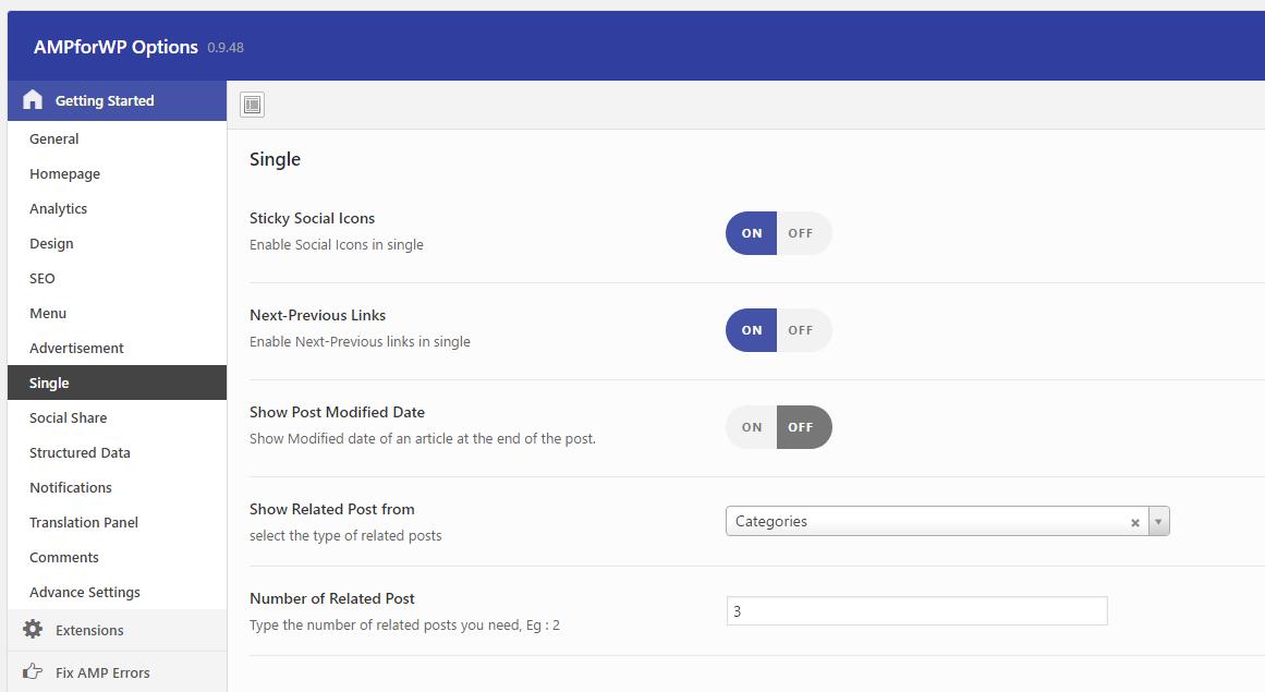 Google AMP WordPress Plugin Single Post Configuration