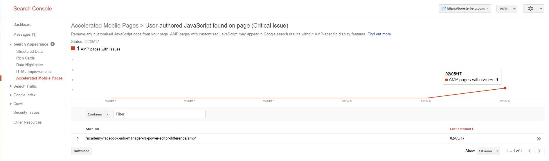 AMP Errors in Google Search Console