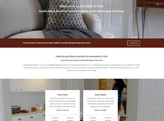 Catnapweb Case Study Arcadia in Rye Accommodation Homepage
